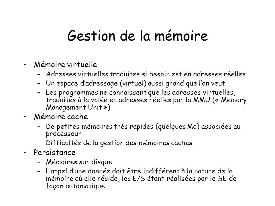 Gestion de la mémoire Mémoire virtuelle Mémoire cache Persistance