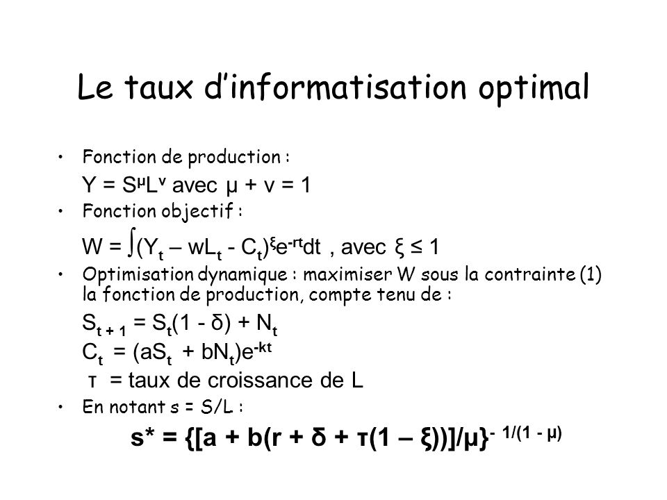 Le taux d'informatisation optimal