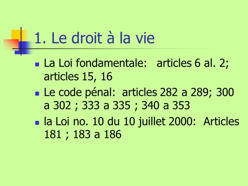 1. Le droit à la vie La Loi fondamentale: articles 6 al. 2; articles 15, 16. Le code pénal: articles 282 a 289; 300 a 302 ; 333 a 335 ; 340 a 353.