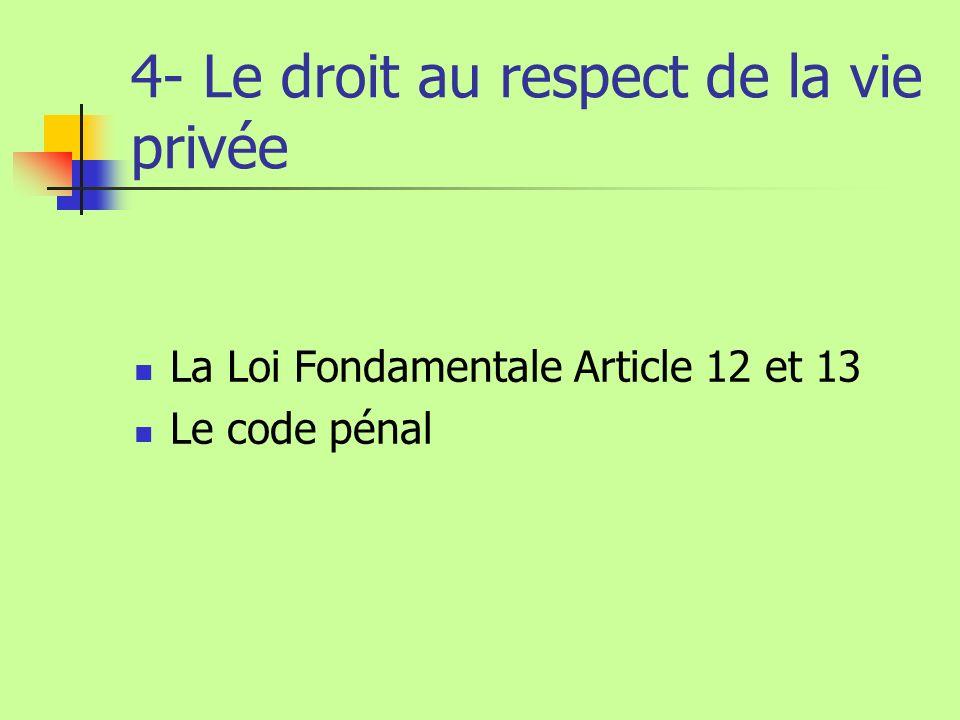 4- Le droit au respect de la vie privée