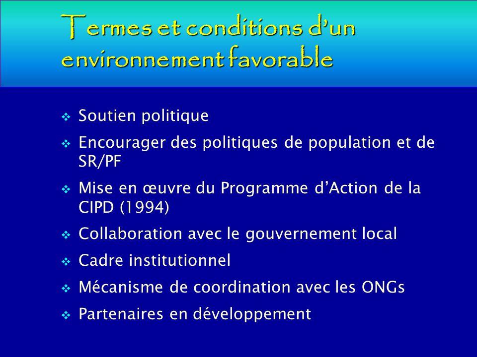Termes et conditions d'un environnement favorable