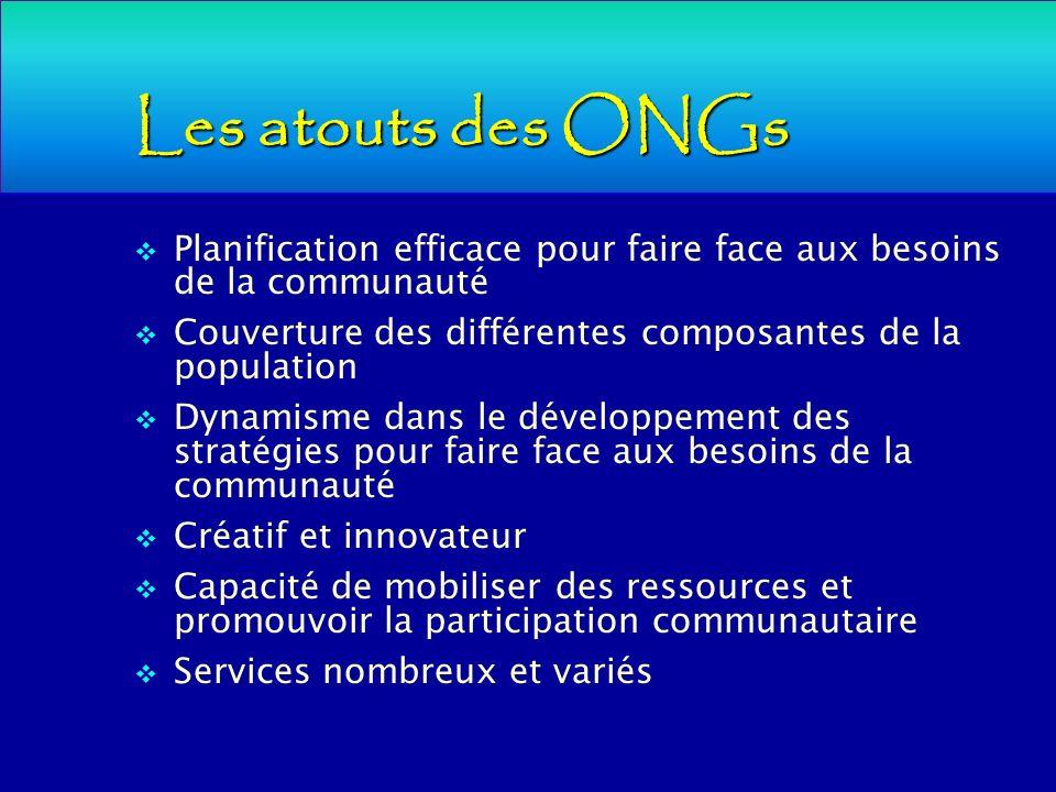 Les atouts des ONGs Planification efficace pour faire face aux besoins de la communauté. Couverture des différentes composantes de la population.