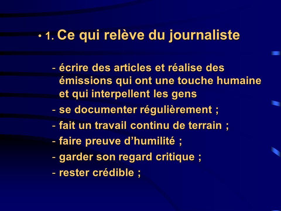 1. Ce qui relève du journaliste
