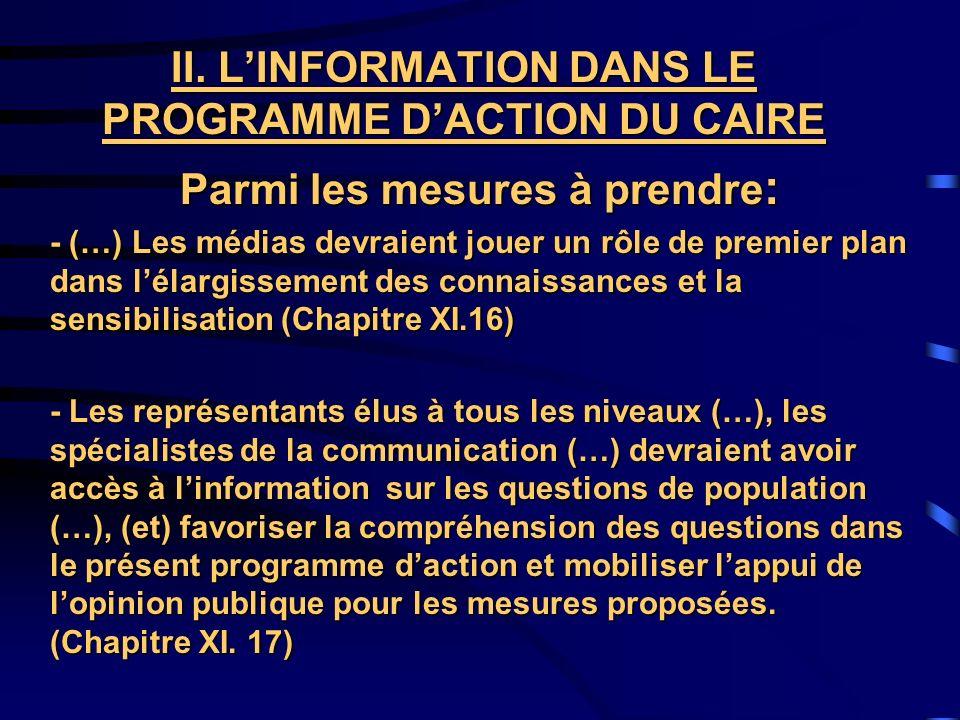 II. L'INFORMATION DANS LE PROGRAMME D'ACTION DU CAIRE
