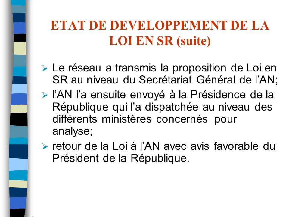 ETAT DE DEVELOPPEMENT DE LA LOI EN SR (suite)