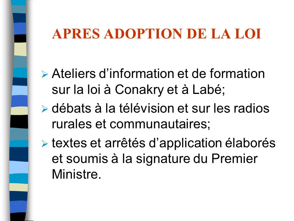 APRES ADOPTION DE LA LOI
