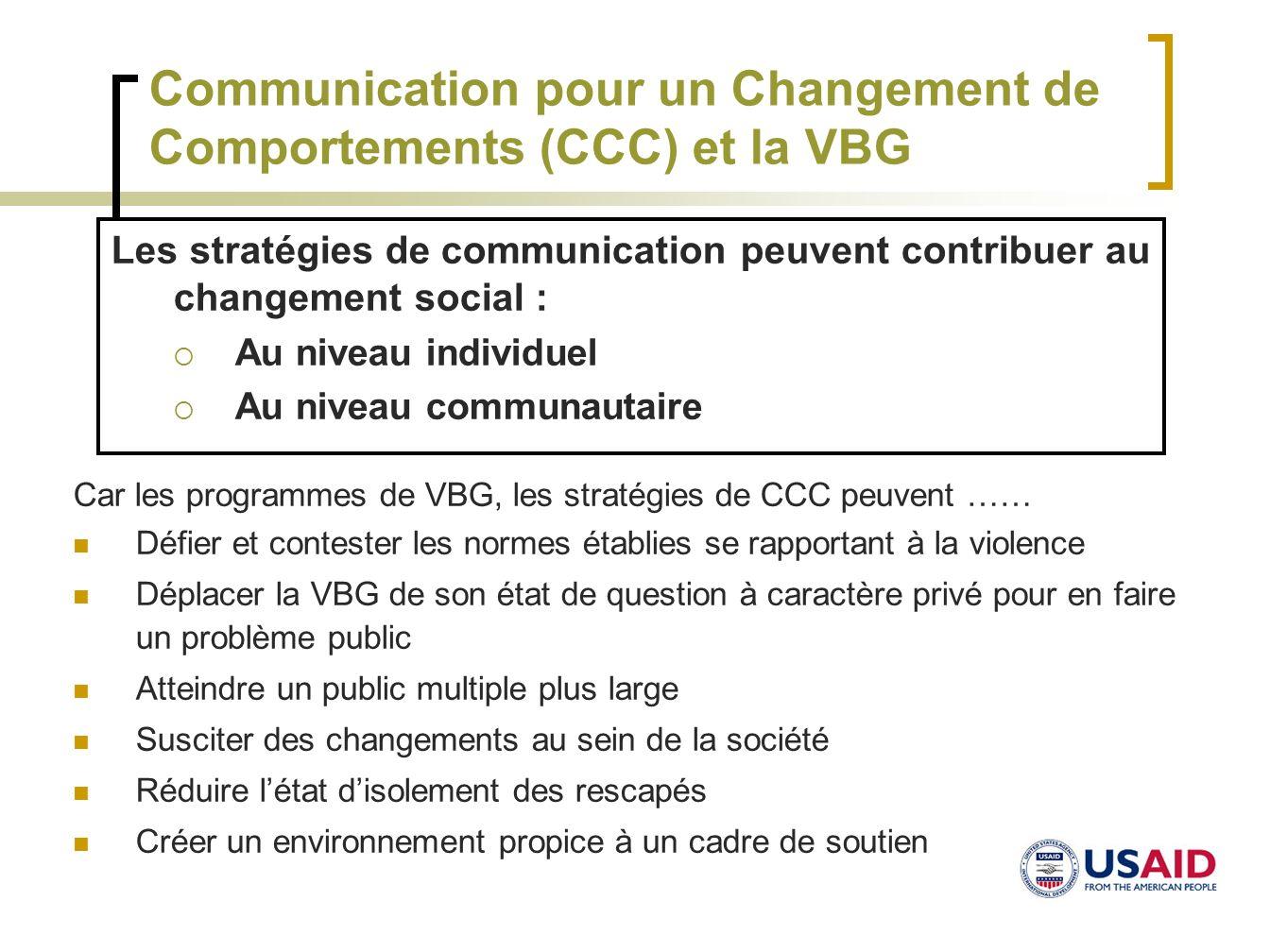 Communication pour un Changement de Comportements (CCC) et la VBG