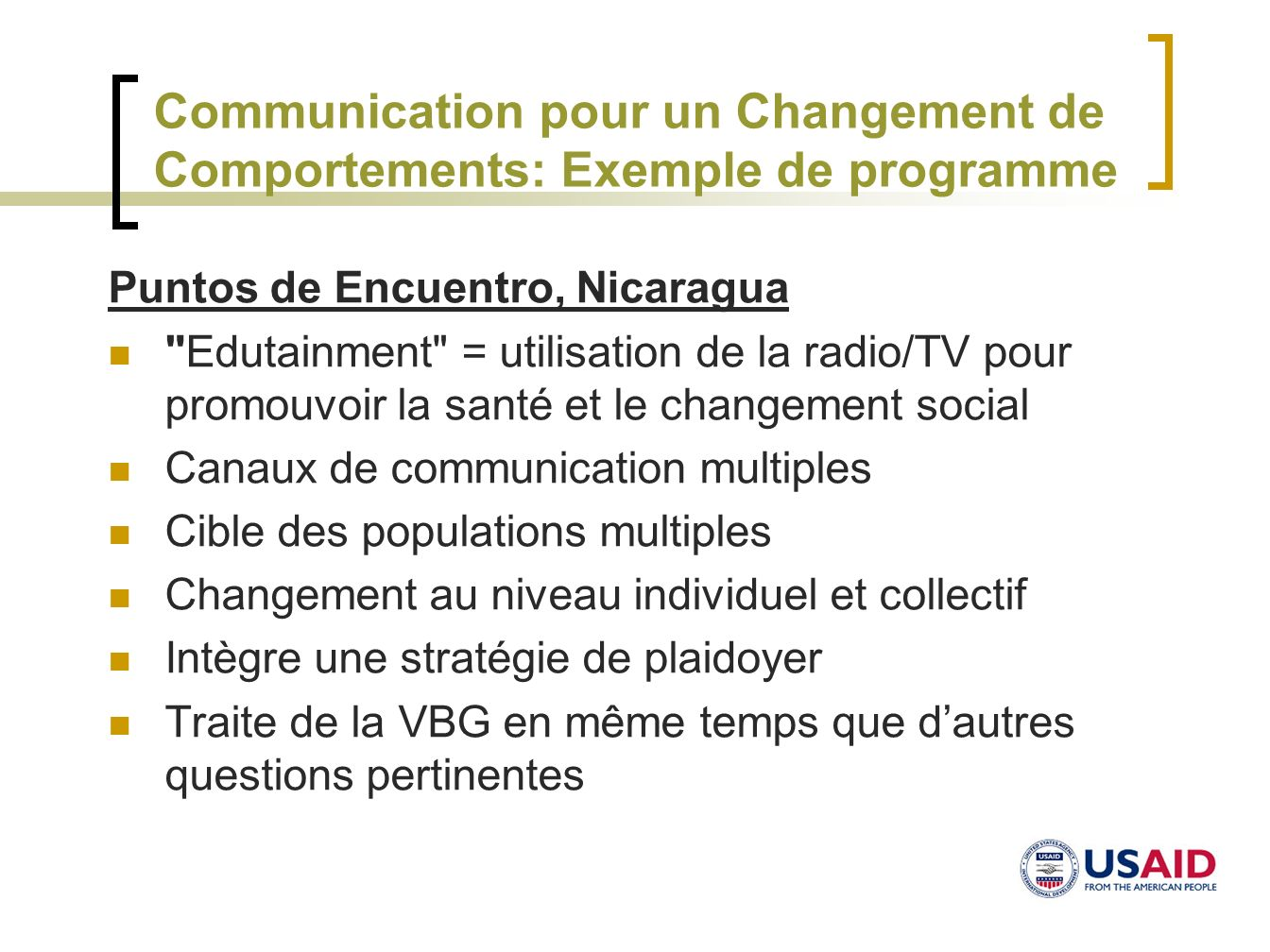 Communication pour un Changement de Comportements: Exemple de programme