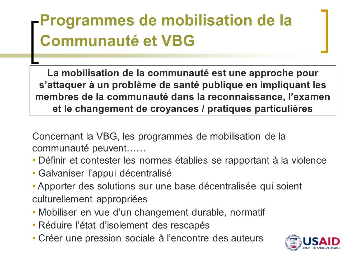 Programmes de mobilisation de la Communauté et VBG