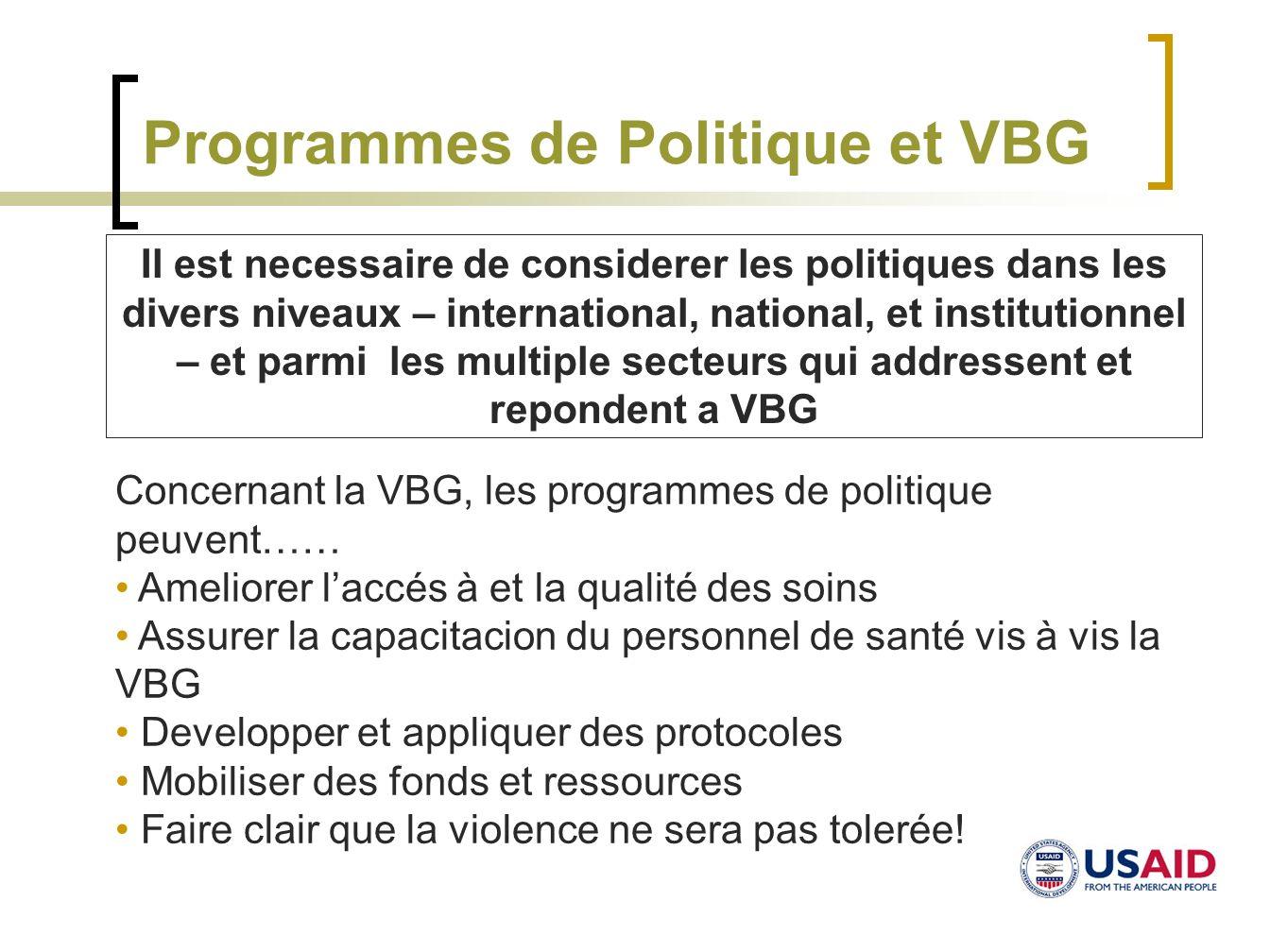 Programmes de Politique et VBG