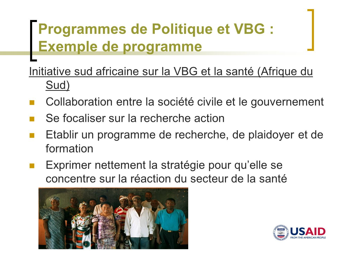 Programmes de Politique et VBG : Exemple de programme
