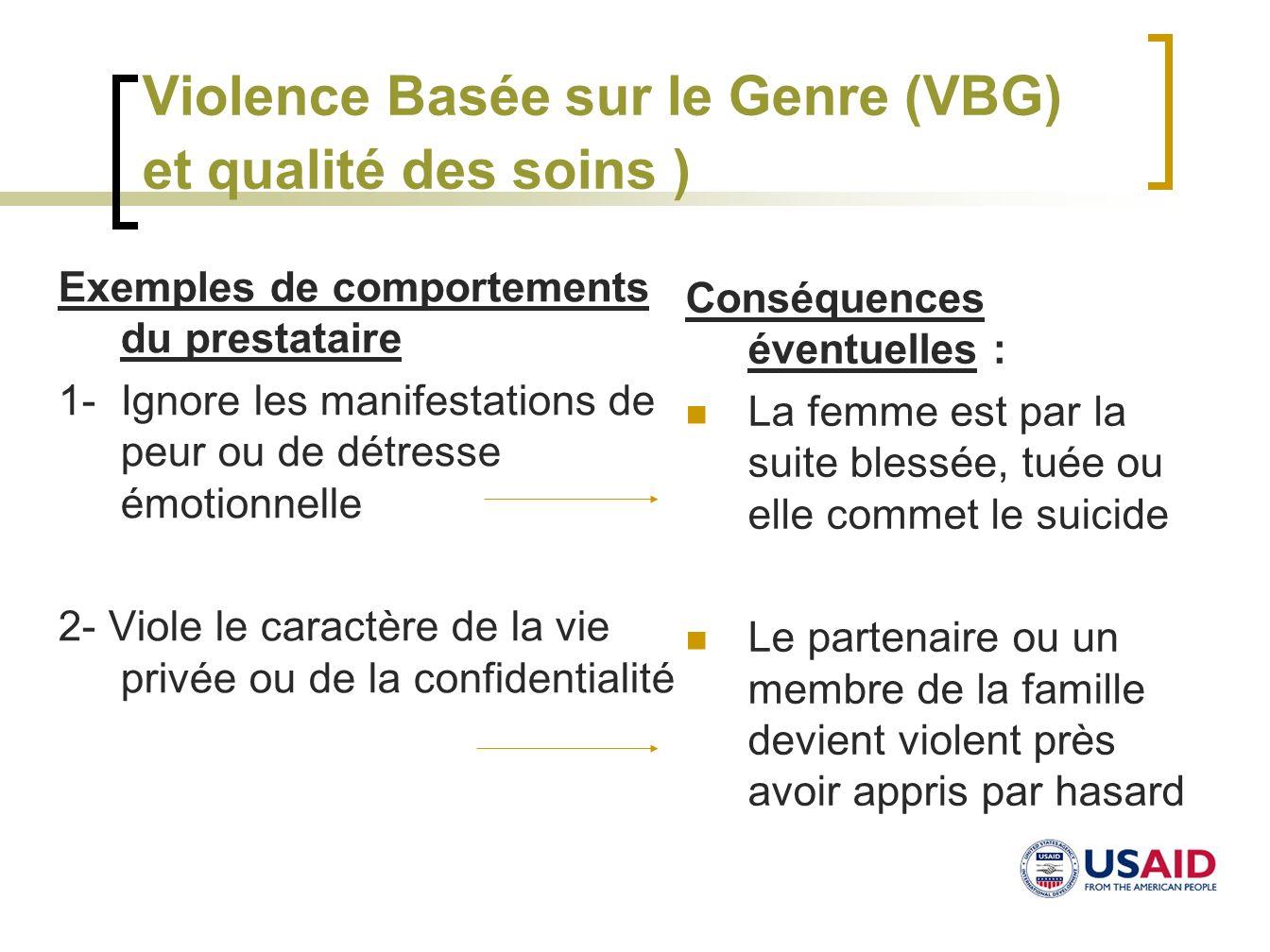 Violence Basée sur le Genre (VBG) et qualité des soins )
