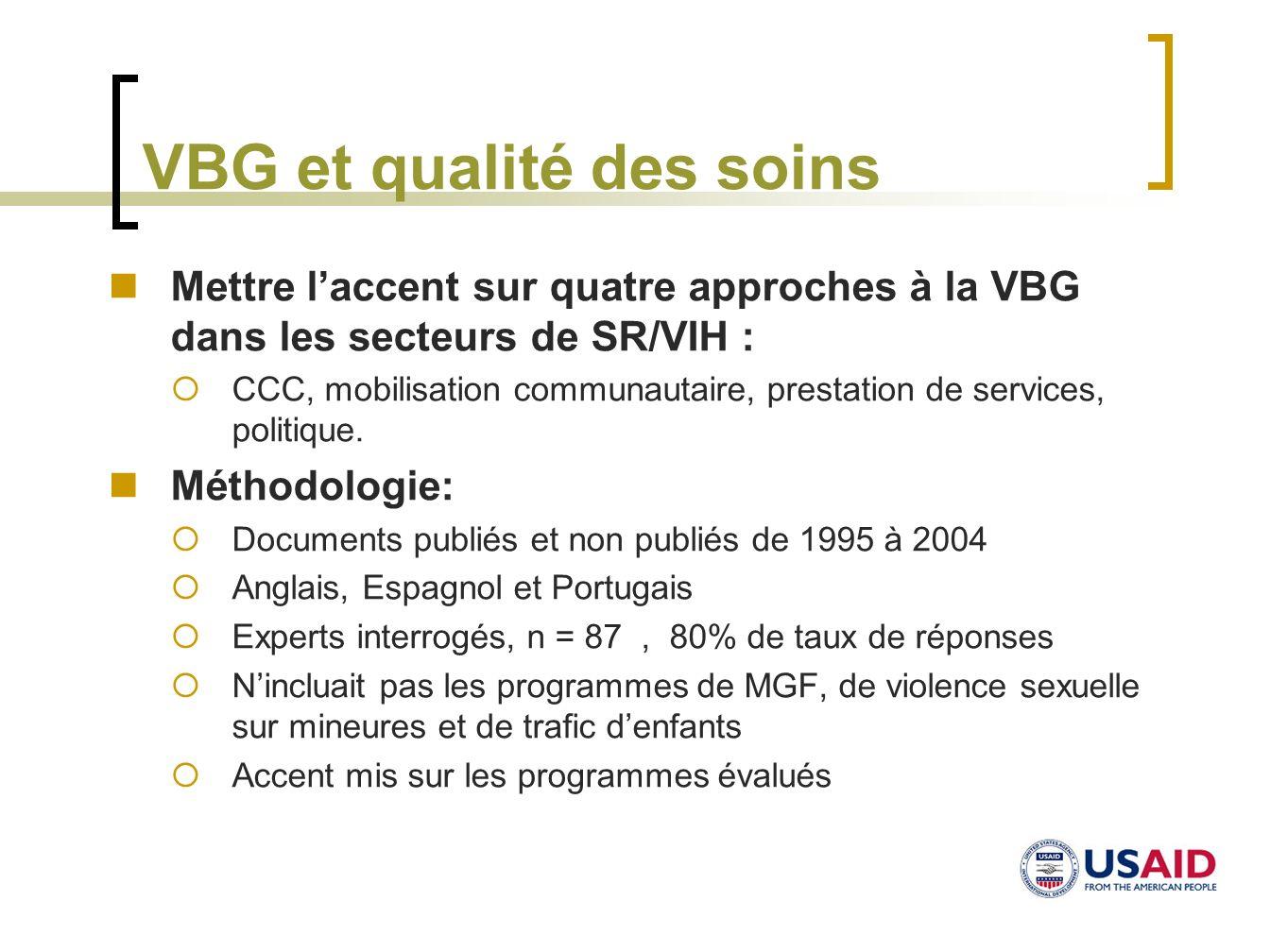 VBG et qualité des soins