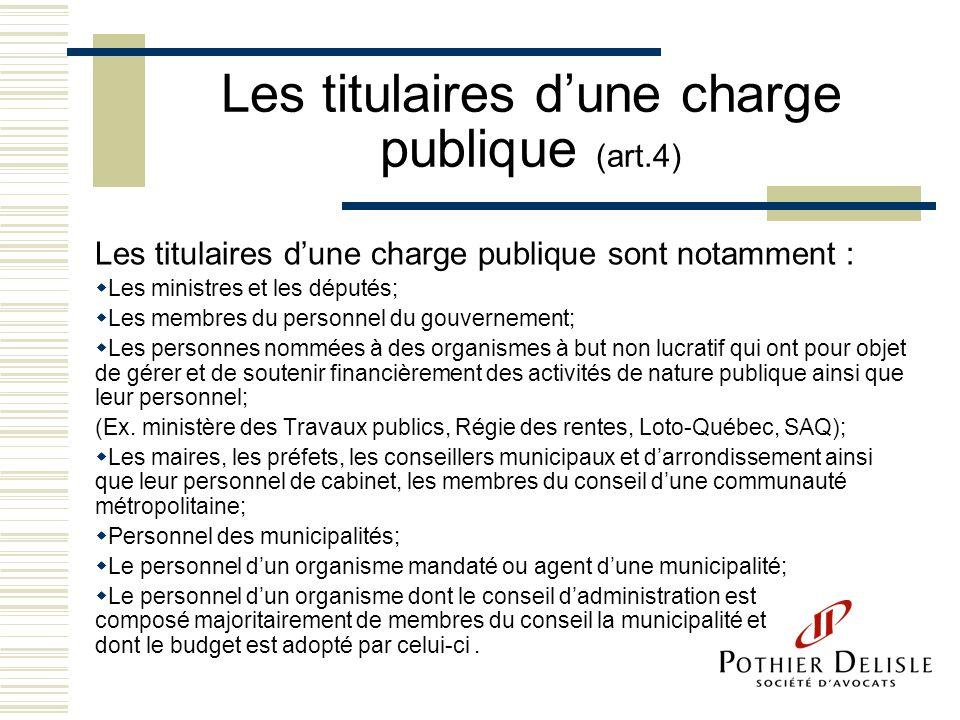 Les titulaires d'une charge publique (art.4)