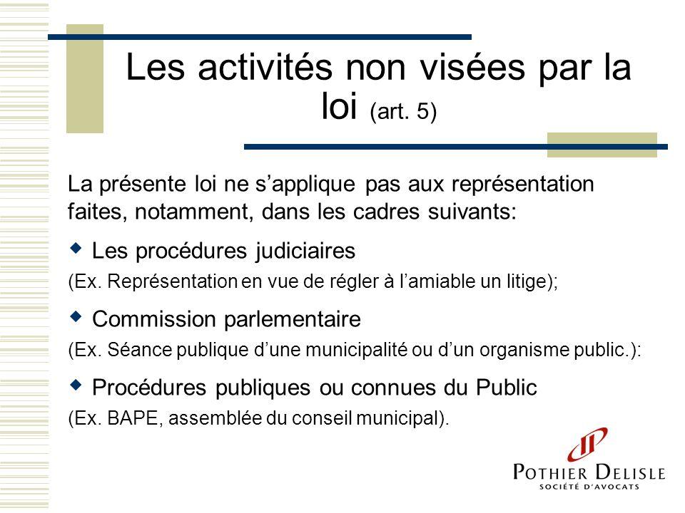 Les activités non visées par la loi (art. 5)