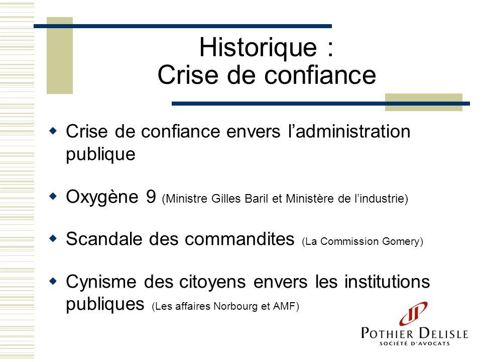 Historique : Crise de confiance