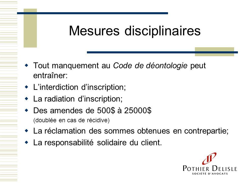 Mesures disciplinaires