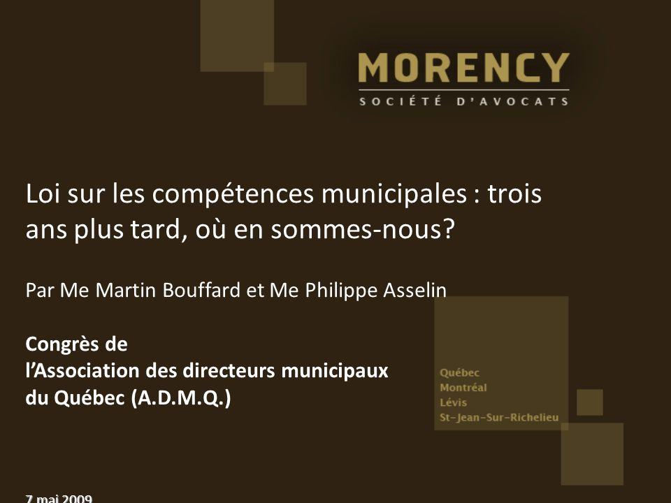 Loi sur les compétences municipales : trois ans plus tard, où en sommes-nous