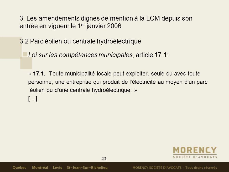Loi sur les compétences municipales, article 17.1: