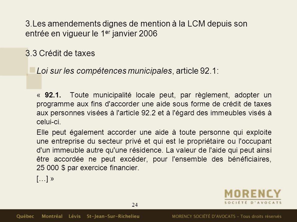 Loi sur les compétences municipales, article 92.1: