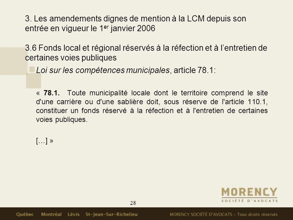 Loi sur les compétences municipales, article 78.1:
