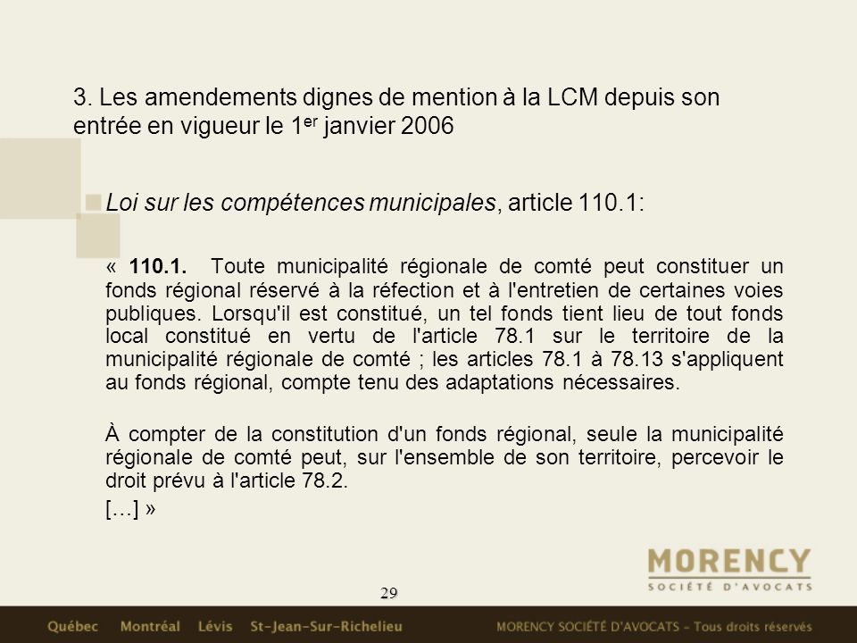 Loi sur les compétences municipales, article 110.1: