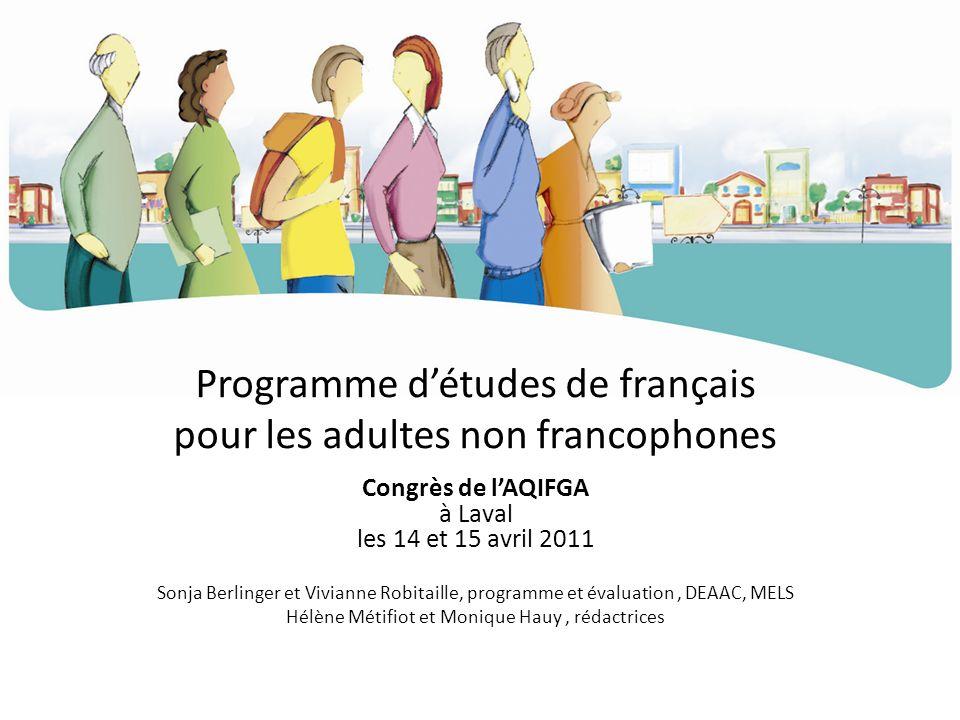 Programme d'études de français pour les adultes non francophones