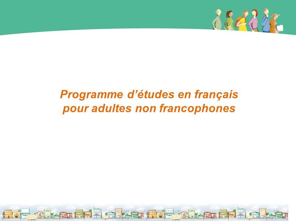 Programme d'études en français pour adultes non francophones