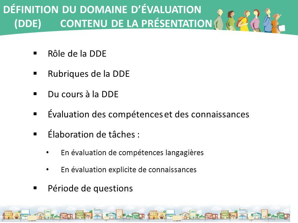 DÉFINITION DU DOMAINE D'ÉVALUATION (DDE) CONTENU DE LA PRÉSENTATION