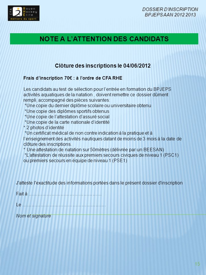 NOTE A L'ATTENTION DES CANDIDATS