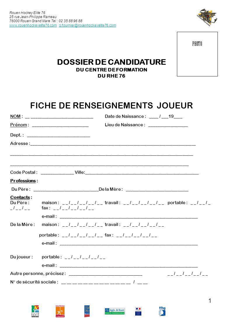 FICHE DE RENSEIGNEMENTS JOUEUR