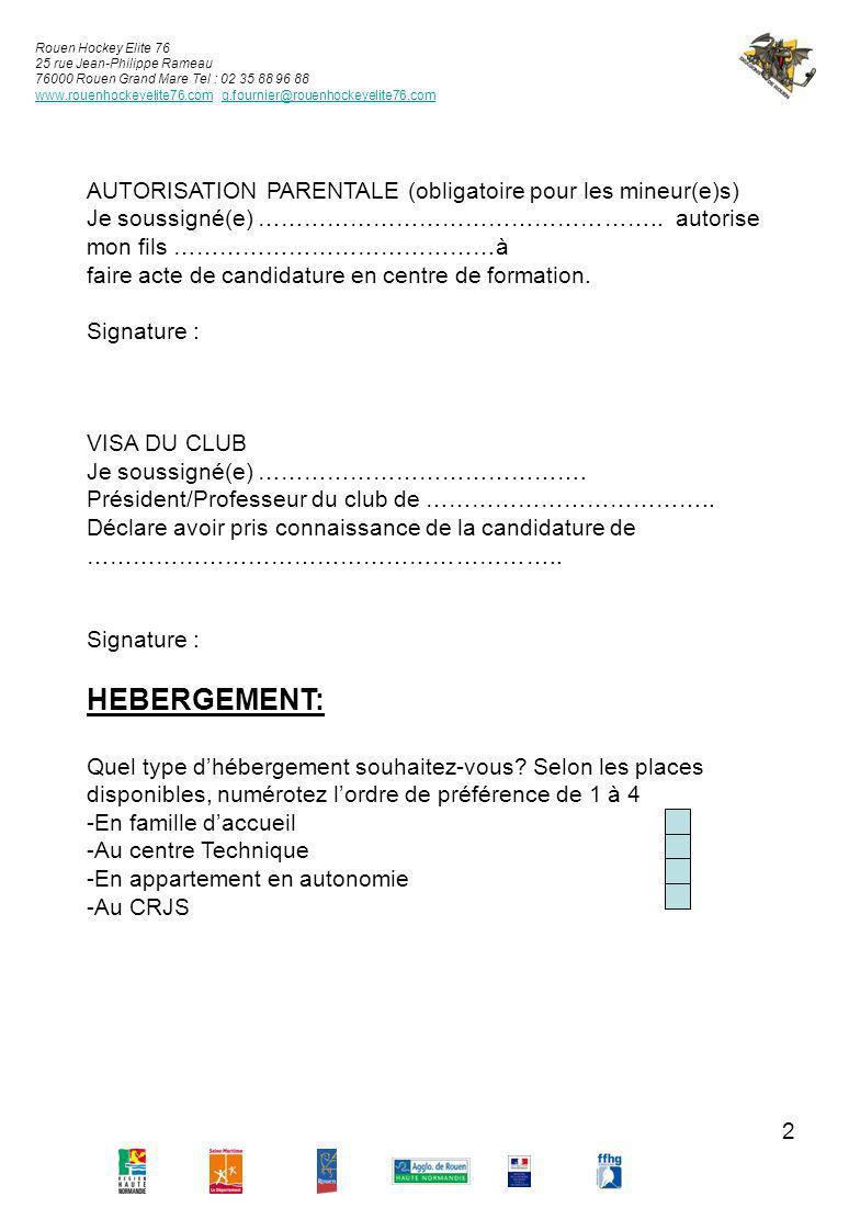 HEBERGEMENT: AUTORISATION PARENTALE (obligatoire pour les mineur(e)s)