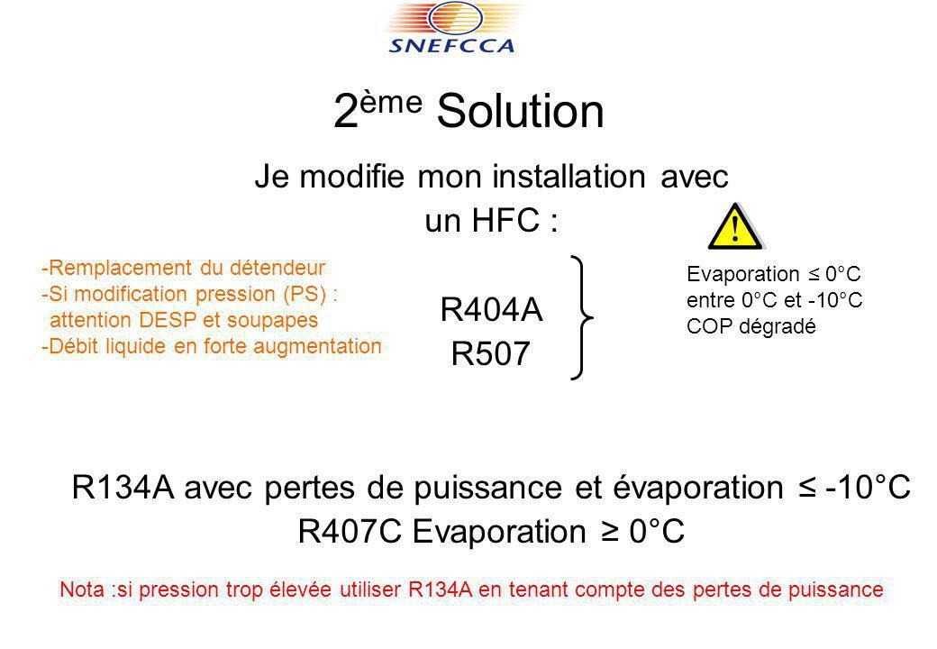 2ème Solution Je modifie mon installation avec un HFC : R404A R507