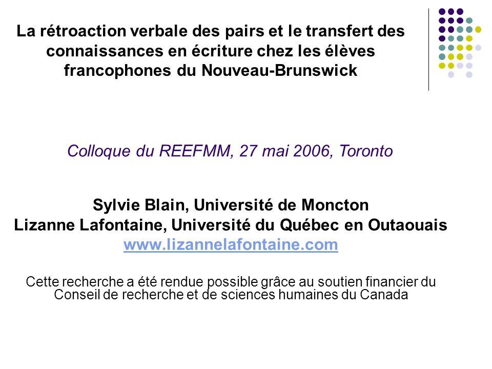 Colloque du REEFMM, 27 mai 2006, Toronto