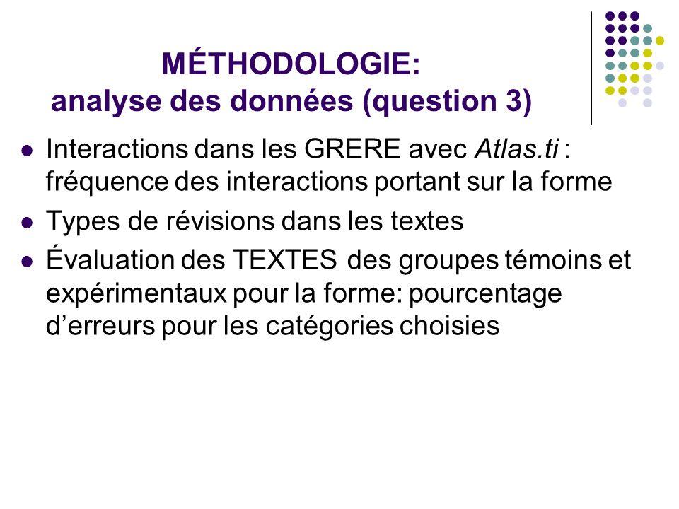 MÉTHODOLOGIE: analyse des données (question 3)