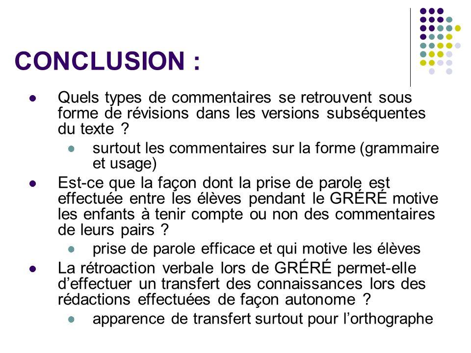 CONCLUSION : Quels types de commentaires se retrouvent sous forme de révisions dans les versions subséquentes du texte