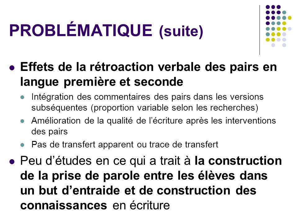 PROBLÉMATIQUE (suite)
