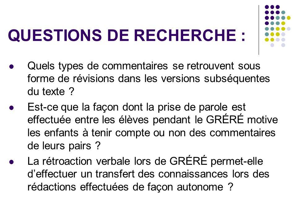QUESTIONS DE RECHERCHE :