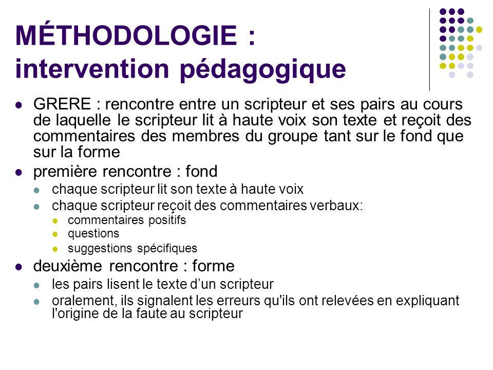 MÉTHODOLOGIE : intervention pédagogique
