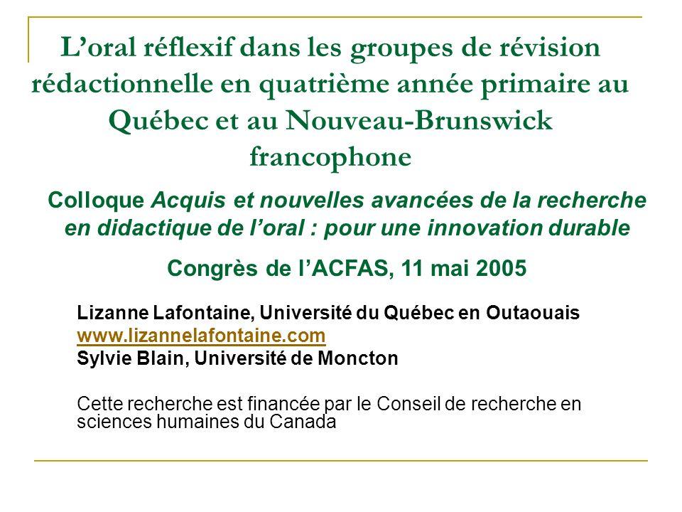 L'oral réflexif dans les groupes de révision rédactionnelle en quatrième année primaire au Québec et au Nouveau-Brunswick francophone