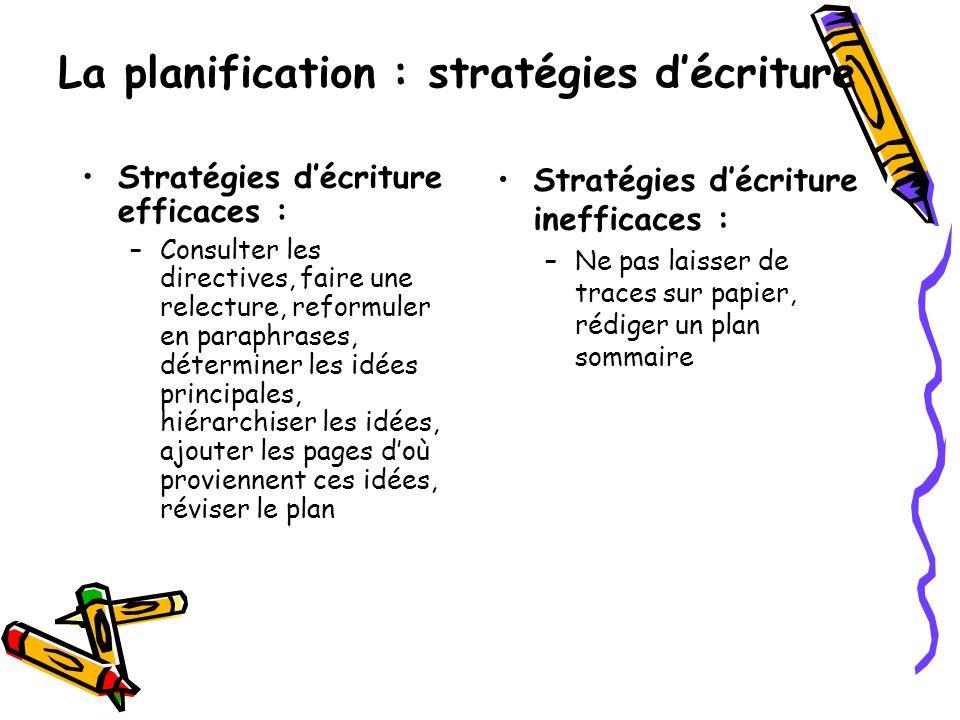 La planification : stratégies d'écriture