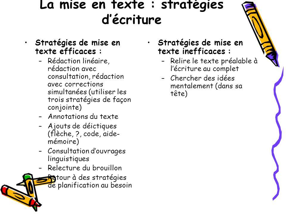 La mise en texte : stratégies d'écriture