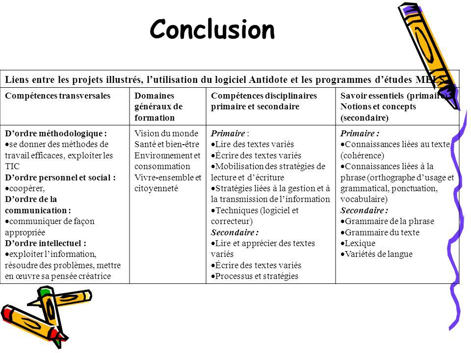 Conclusion Liens entre les projets illustrés, l'utilisation du logiciel Antidote et les programmes d'études MÉLS.