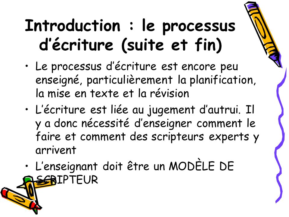 Introduction : le processus d'écriture (suite et fin)