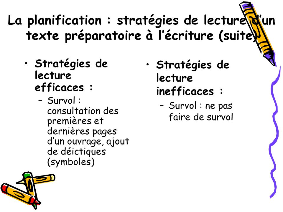 La planification : stratégies de lecture d'un texte préparatoire à l'écriture (suite)