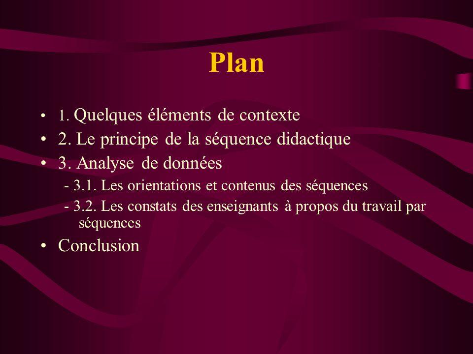 Plan 2. Le principe de la séquence didactique 3. Analyse de données