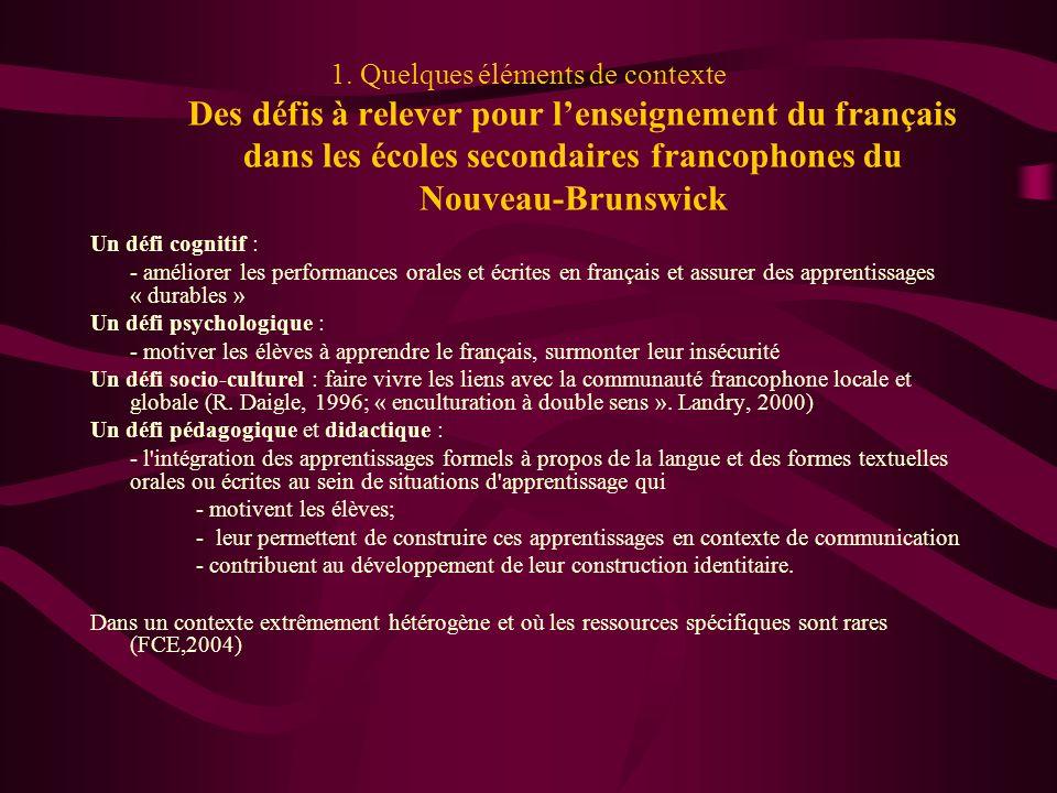 1. Quelques éléments de contexte Des défis à relever pour l'enseignement du français dans les écoles secondaires francophones du Nouveau-Brunswick