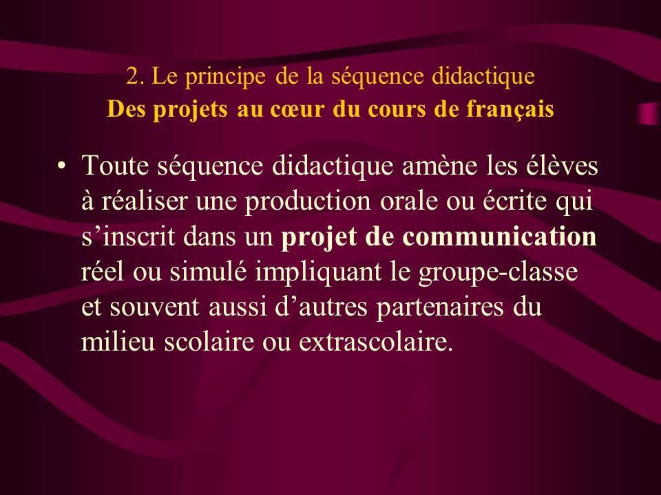 2. Le principe de la séquence didactique Des projets au cœur du cours de français