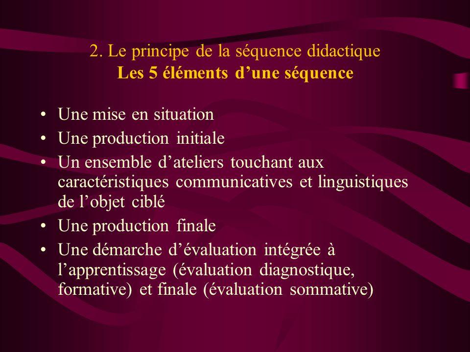 2. Le principe de la séquence didactique Les 5 éléments d'une séquence