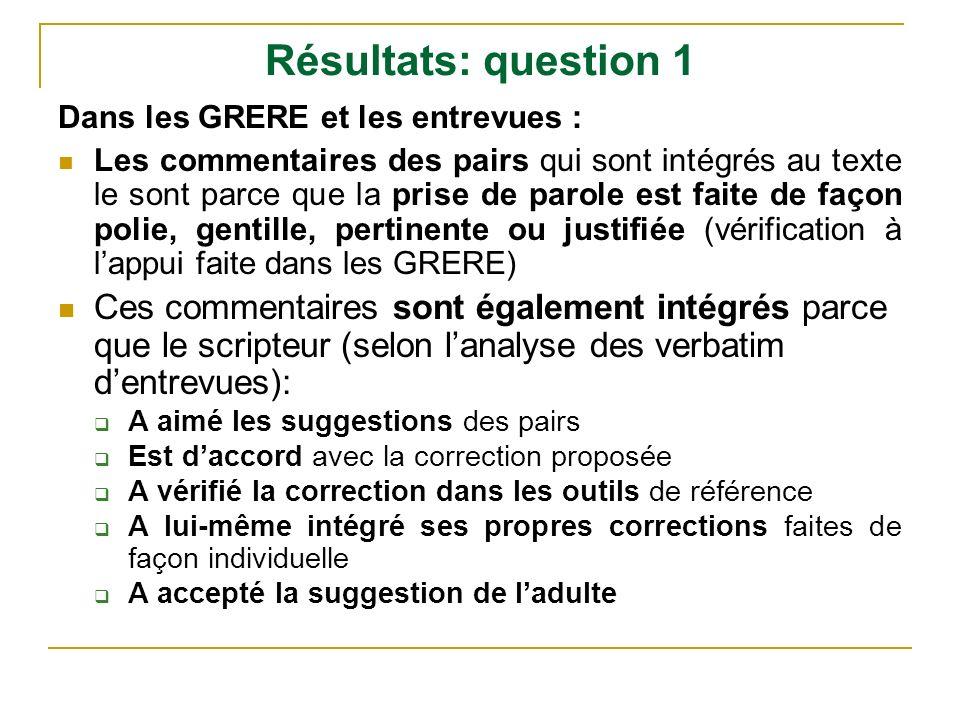 Résultats: question 1 Dans les GRERE et les entrevues :